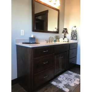 rustic hickory vanity w/ briar stain