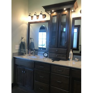 rustic hickory master vanity with briar stain